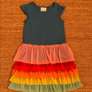Hannah Andersson Rainbow Ruffle Dress 6-7